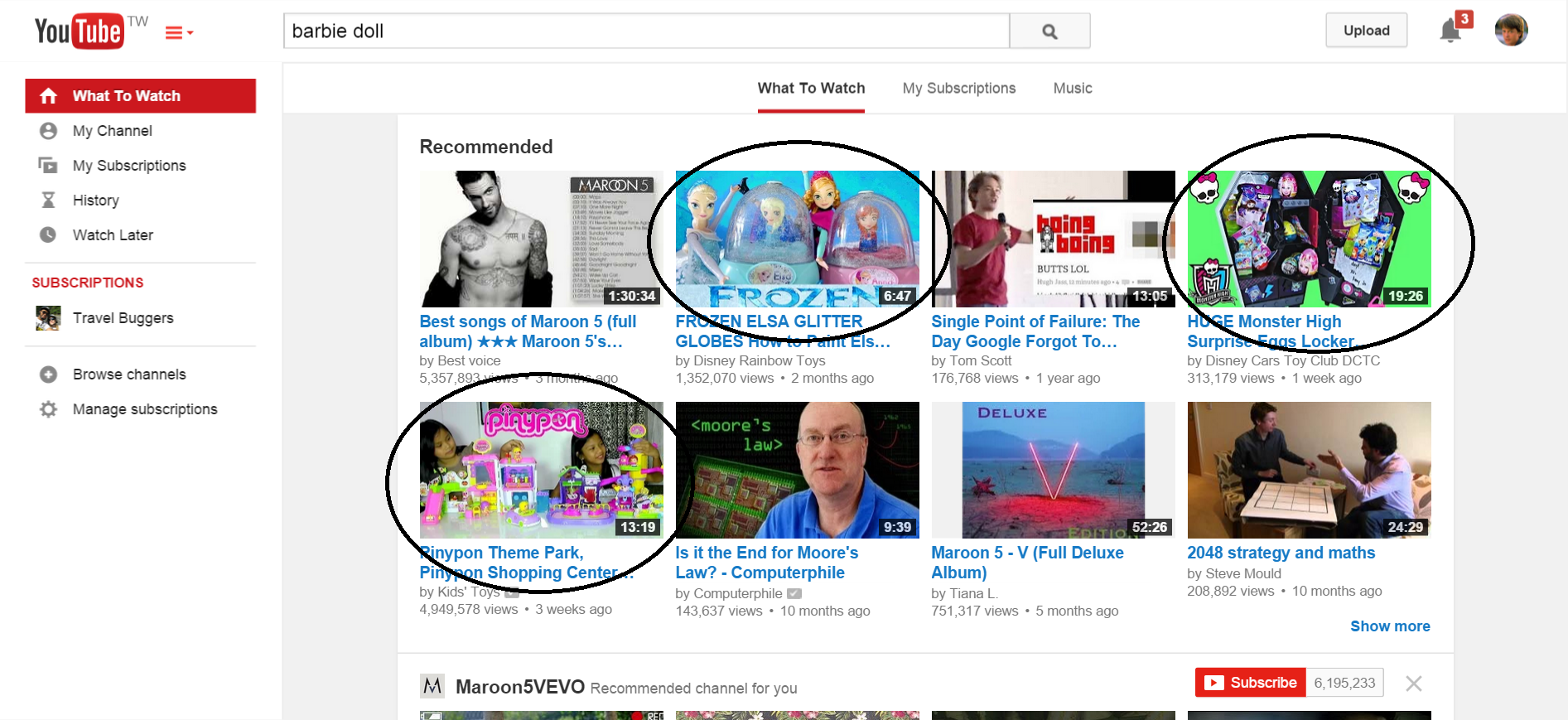 Recommended videos after watching full barbie video