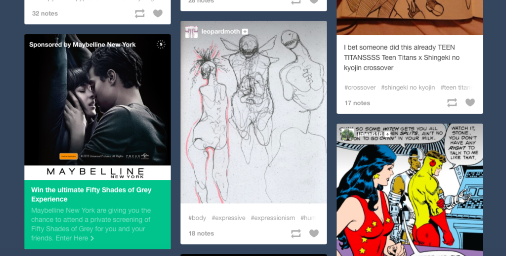 Cyborgs on tumblr go with Fifty Shades of Grey and makeup